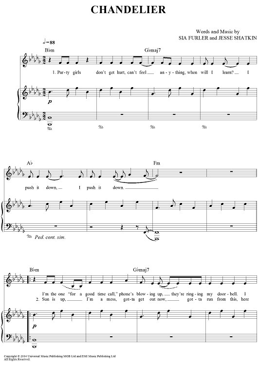 Chandelier Sheet Music by Sia | Sheet music, Chandeliers and Pianos
