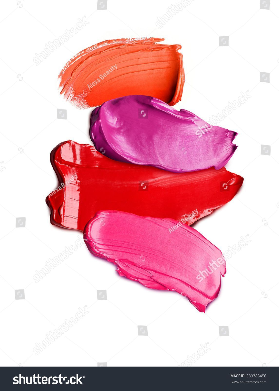 Photo of Lipstick Textures On White Background Stock Photo (Edit Now) 383788456 –  Lipsti…