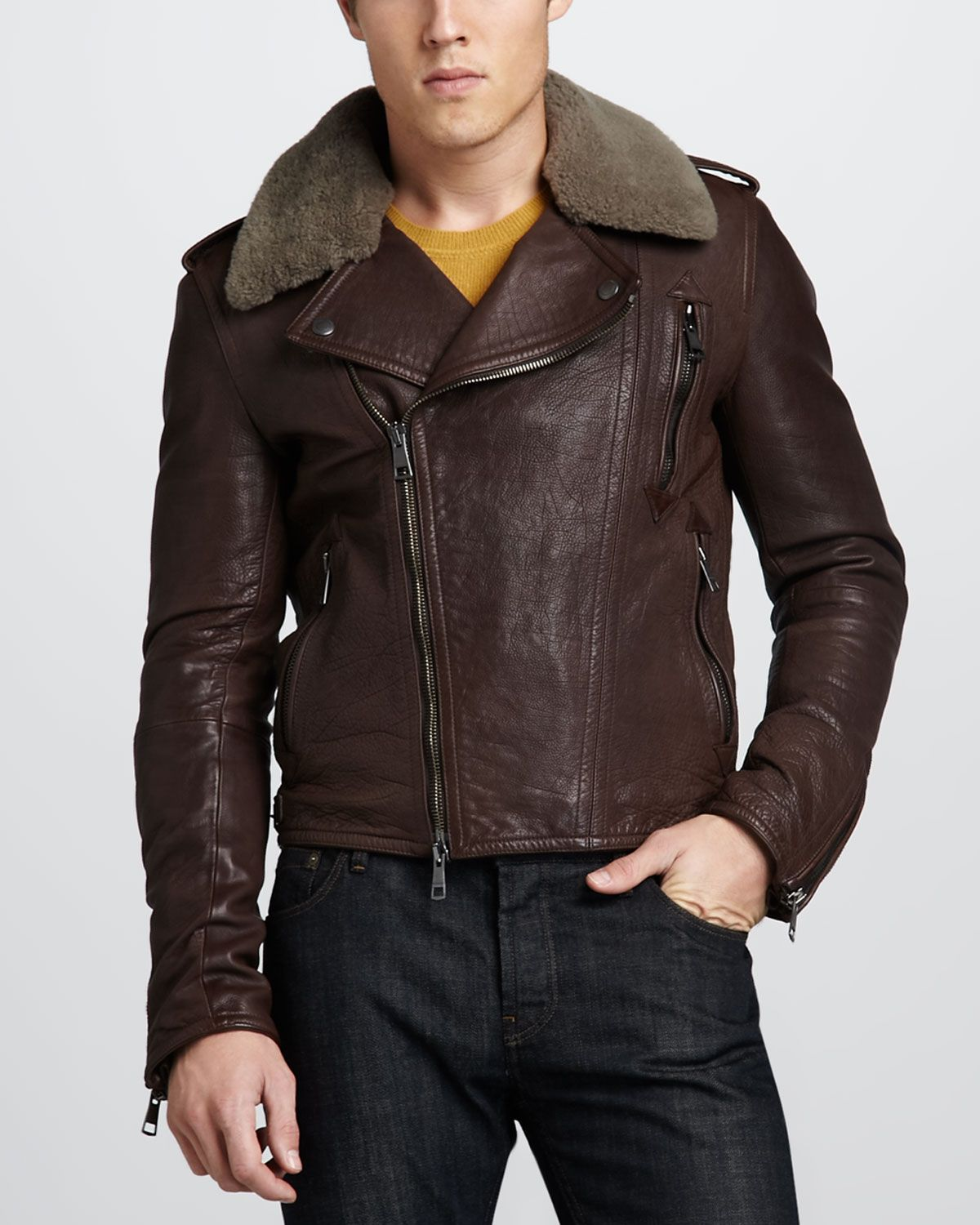 Burberry Brit Brown Fur Collar Leather Bomber Jacket | Hell-bent ...