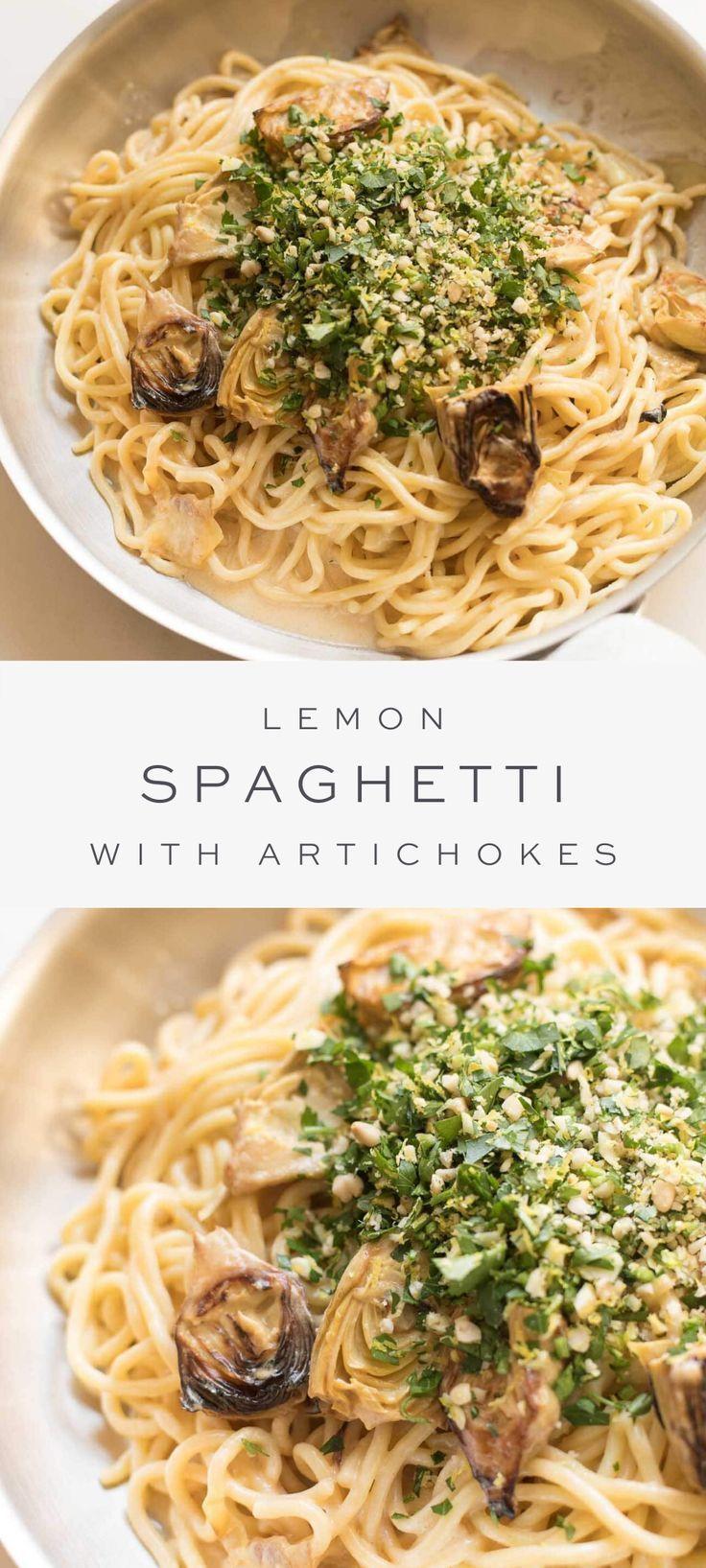 Lemon Spaghetti with Artichokes {and the Best Lemon Cream Sauce}