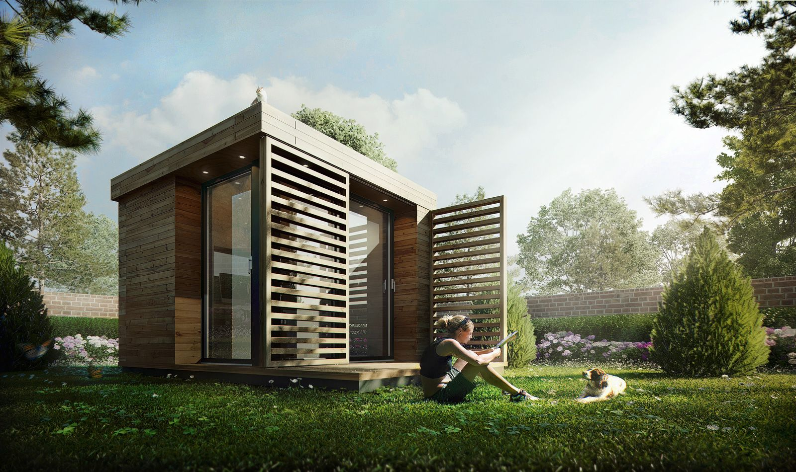 Garden office by sergio mereces cg architecture render architecture presentation - Painting exterior render model ...