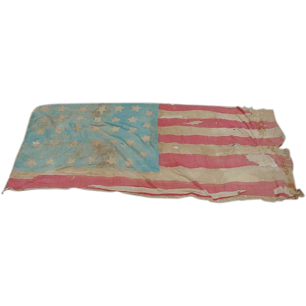 Historic Battle Scarred 34-Star 1861 US Civil War Battle Flag Provenance from The Jewelers Corner & Wine Country Antiques on Ruby Lane