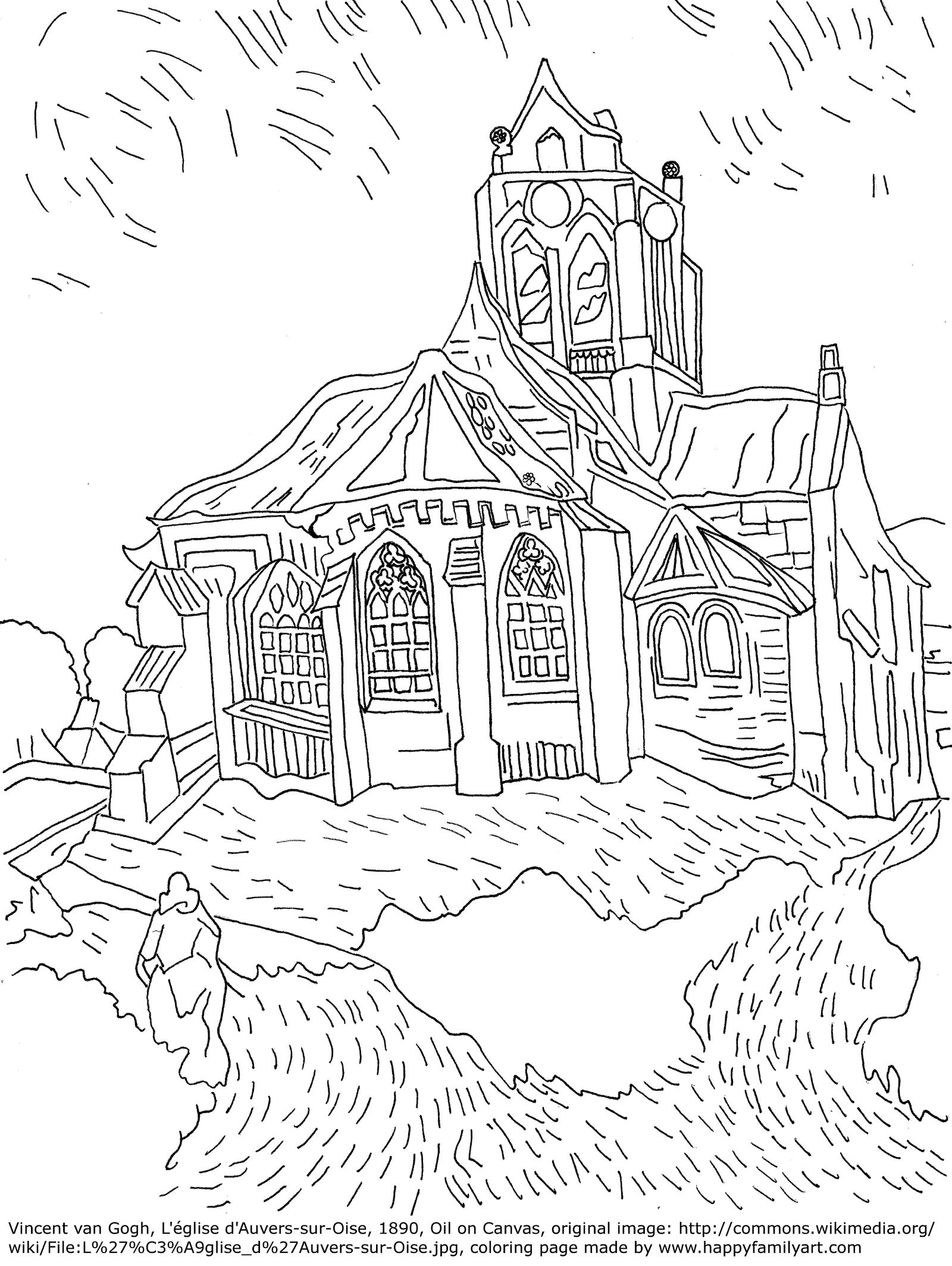 Vincent Van Gogh Famous Paintings Coloring Pages