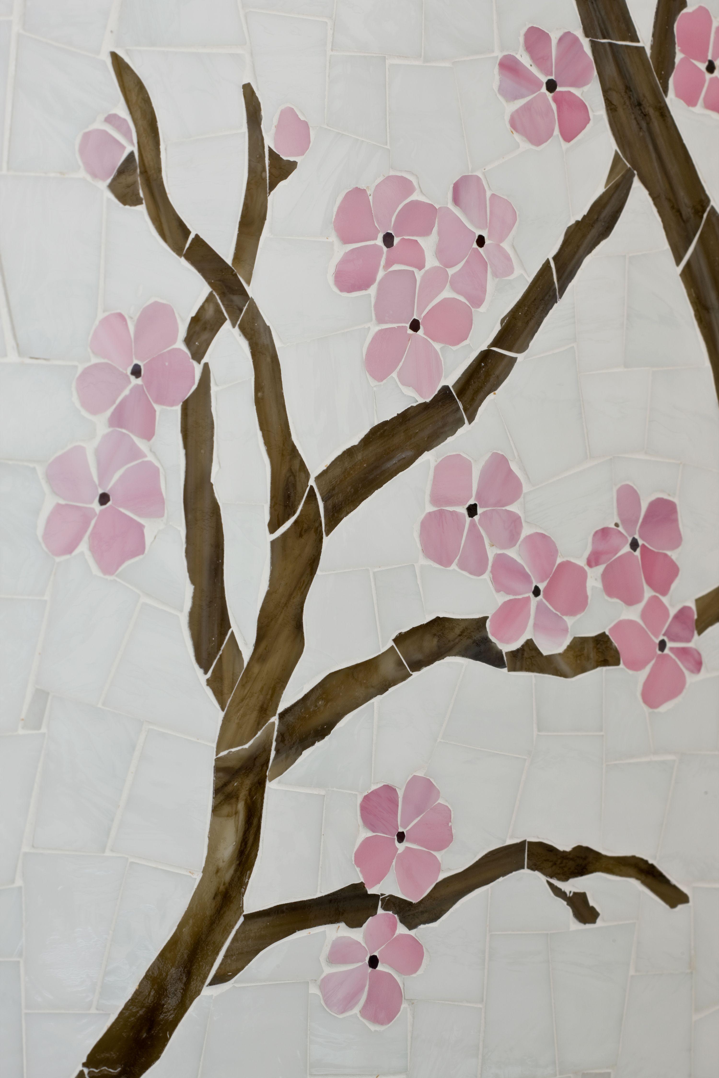 Ann Sacks Azure Custom Cherry Tree Glass Mosaic