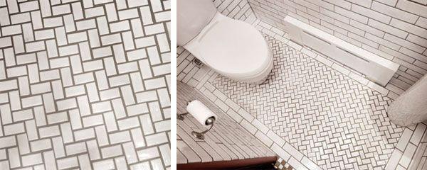 Bathroom Floor Herringbone