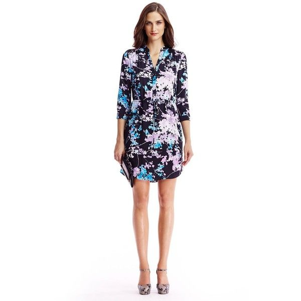 DIANE VON FURSTENBERG Freya Silk Shirt Dress (25.040 RUB) via Polyvore featuring dresses, floral daze sky mauve, shirt-dress, mauve dress, diane von furstenberg dresses, silk floral dress и silk shirt dress