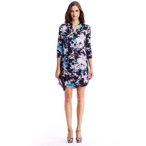DIANE VON FURSTENBERG Freya Silk Shirt Dress (25.040 RUB) via Polyvore featuring dresses, floral daze sky mauve, shirt-dress, mauve dress, diane von furstenberg dresses, silk floral dress и silk shirt dress