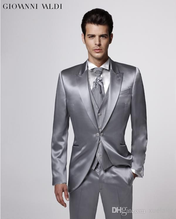 Custom Made Groom Tuxedos,Silver Party Suit Wedding Party Suit ...