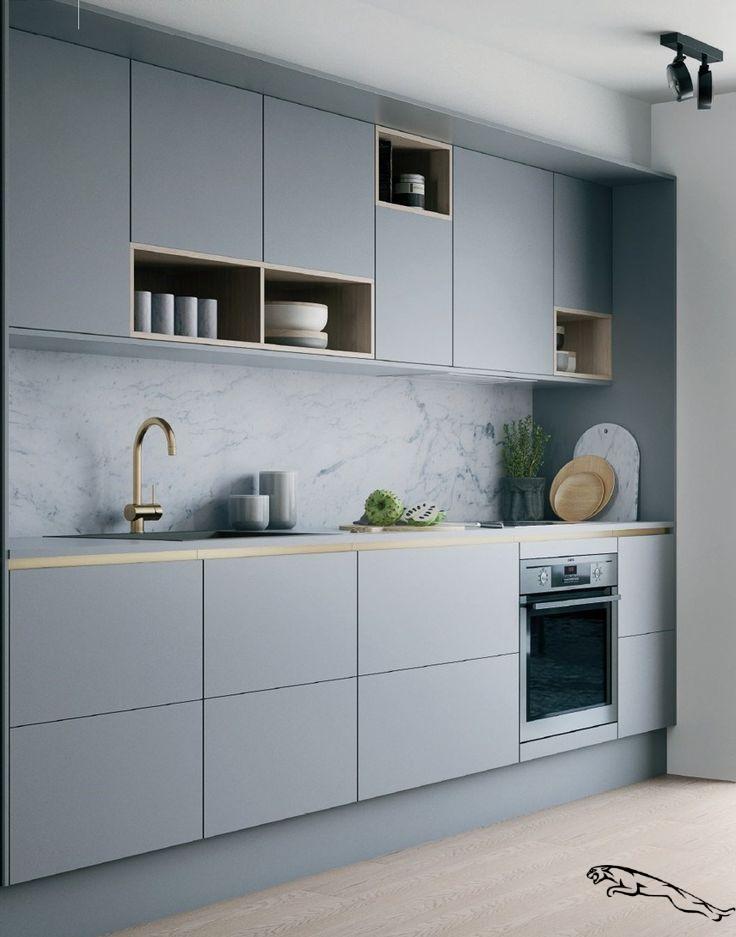 Lignes Pures Et Association De Gris Et Laiton Pour Cette Cuisine Contemporaine Kitchendesig In 2020 Trendy Kitchen Backsplash Scandinavian Kitchen Design Grey Kitchen
