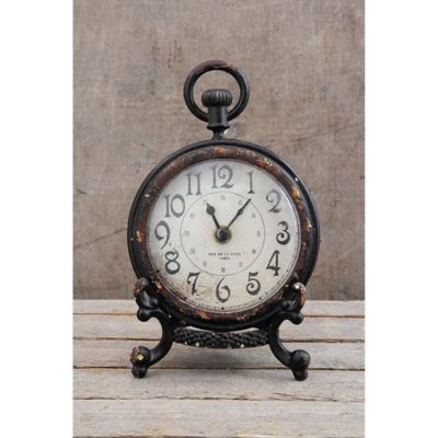 6 5 Pewter Mantle Clock With Black Stand Mantle Clock Clock Mantel Clock