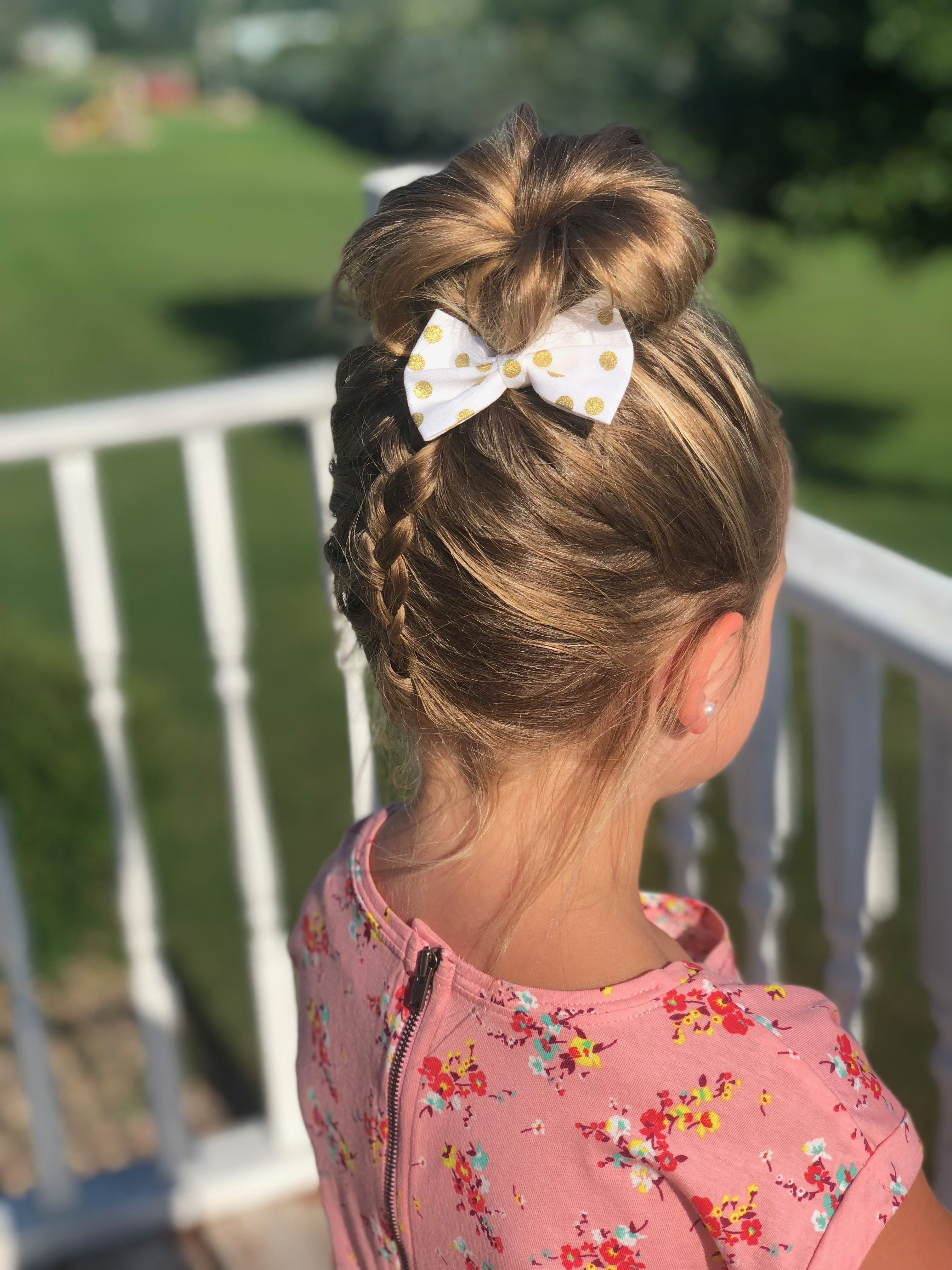 Braid With Top Bun Bow Hairstyle Baby Hairstyles Hair Styles