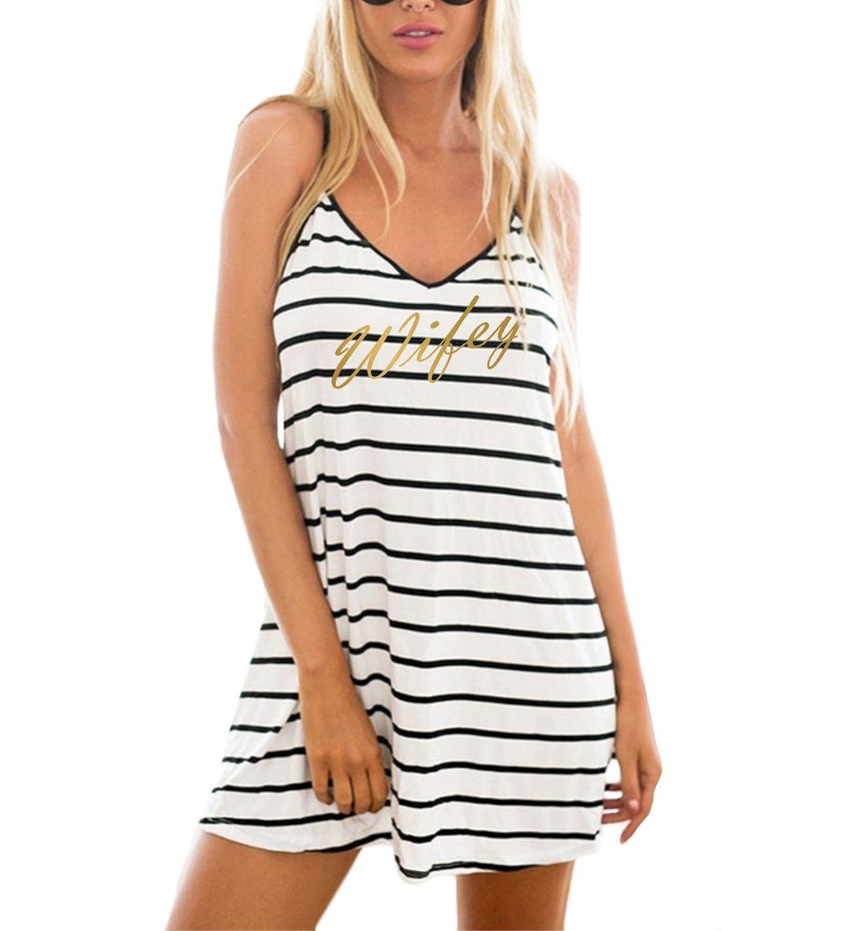 5ccfb914a9 Gold wifey white with black stripe swimsuit cover up/ beach dress. bride,  Mrs, Mrs., beach, ocean, wifey, wife, what to pack, beach wear, pool, pool  cover ...