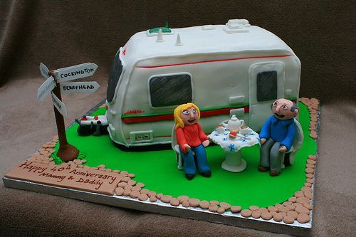 Retro red and cream caravan cake topper and iced biscuit ...