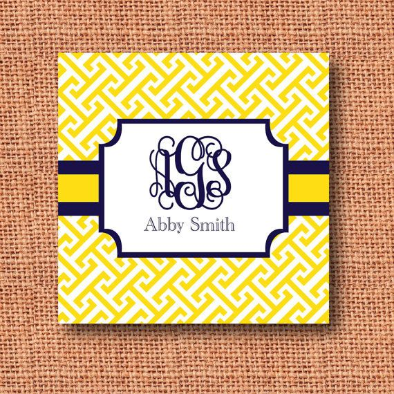 Preppy Monogrammed Business Cards, Calling Cards Or Gift Enclosure