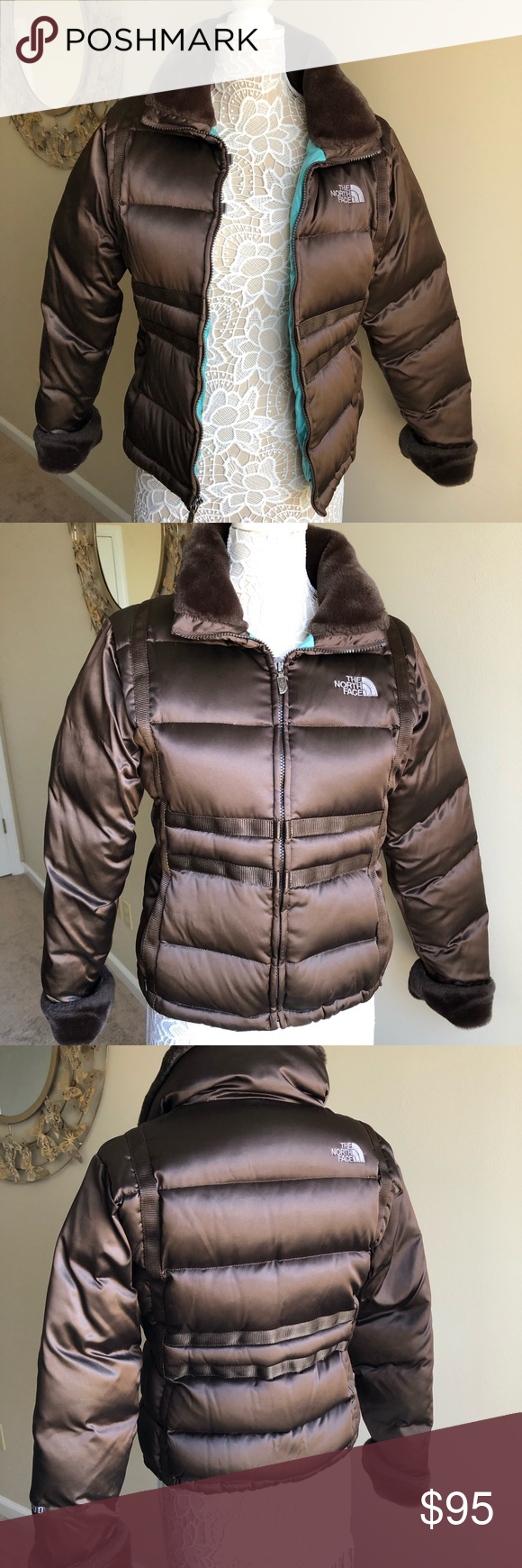 The North Face 600 Down Jacket With Faux Fur Sz M Down Jacket Jackets Chocolate Brown Colour [ 1740 x 580 Pixel ]