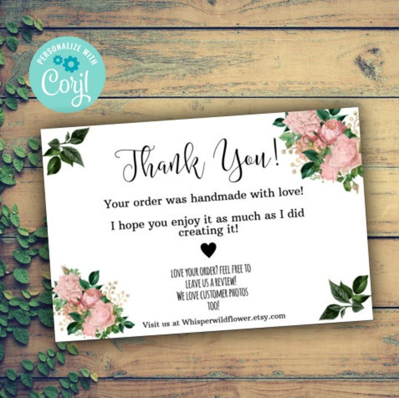 Floral Thank You For Your Order Insert Template Small Etsy Thank You Card Design Small Business Cards Business Thank You Cards
