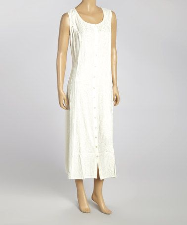 Look what I found on #zulily! White Embroidered Button-Up Maxi Dress - Women #zulilyfinds
