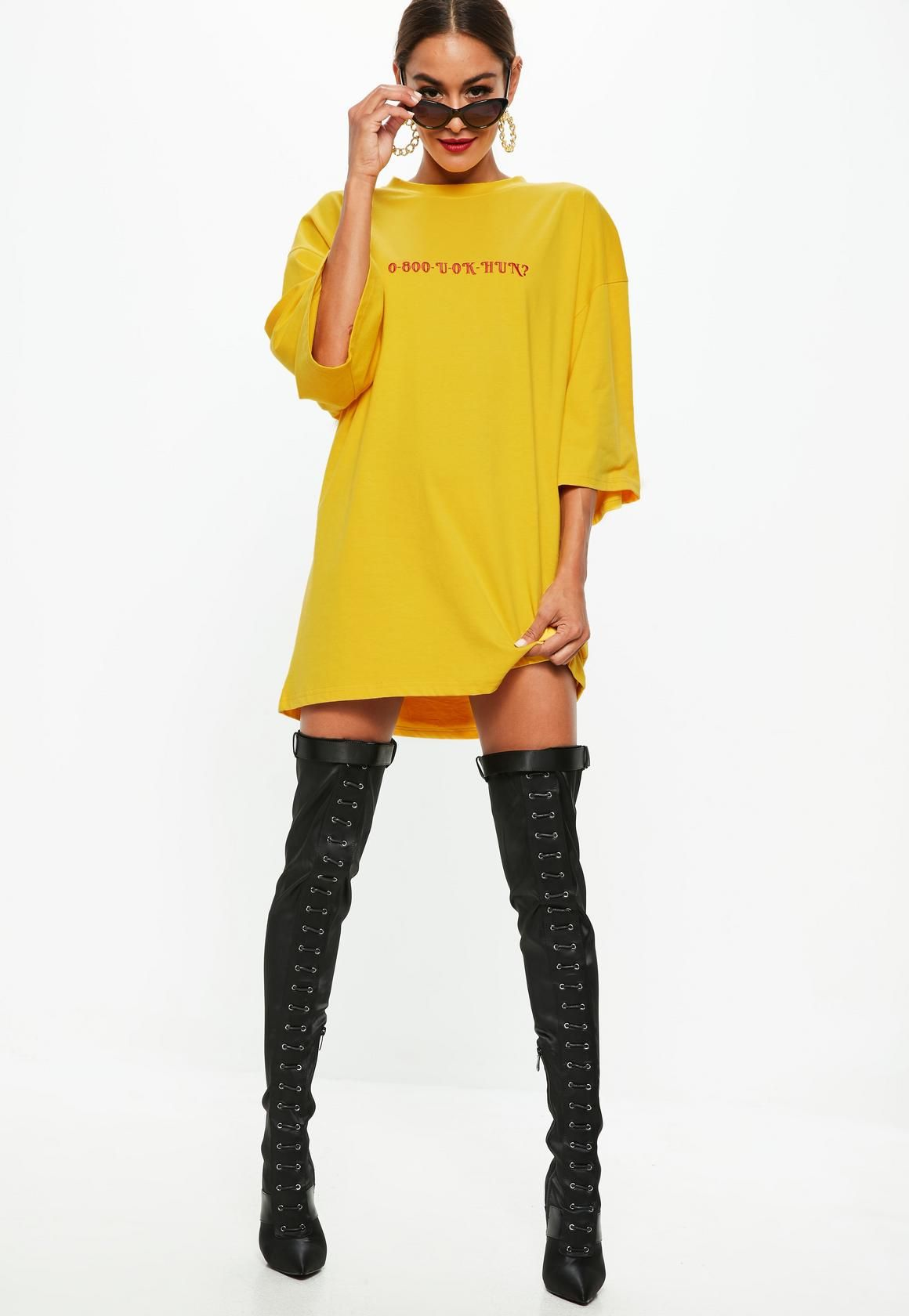 Missguided - Yellow Oversized Slogan T Shirt Dress f9b45233c