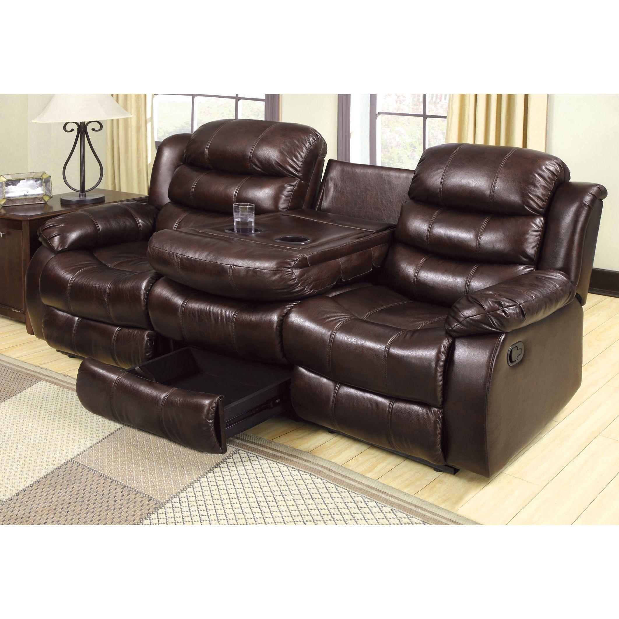 Furniture of America Berkshield Transitional Dark Brown Leather-like ...
