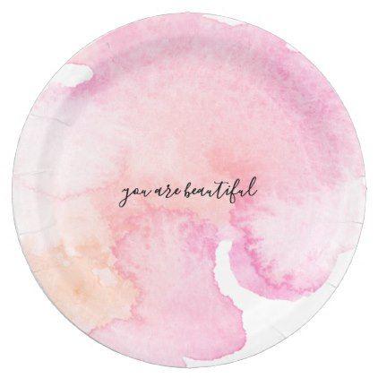 Pretty Pink Peach Watercolor Paper Plate  sc 1 st  Pinterest & Pretty Pink Peach Watercolor Paper Plate | Watercolor paper