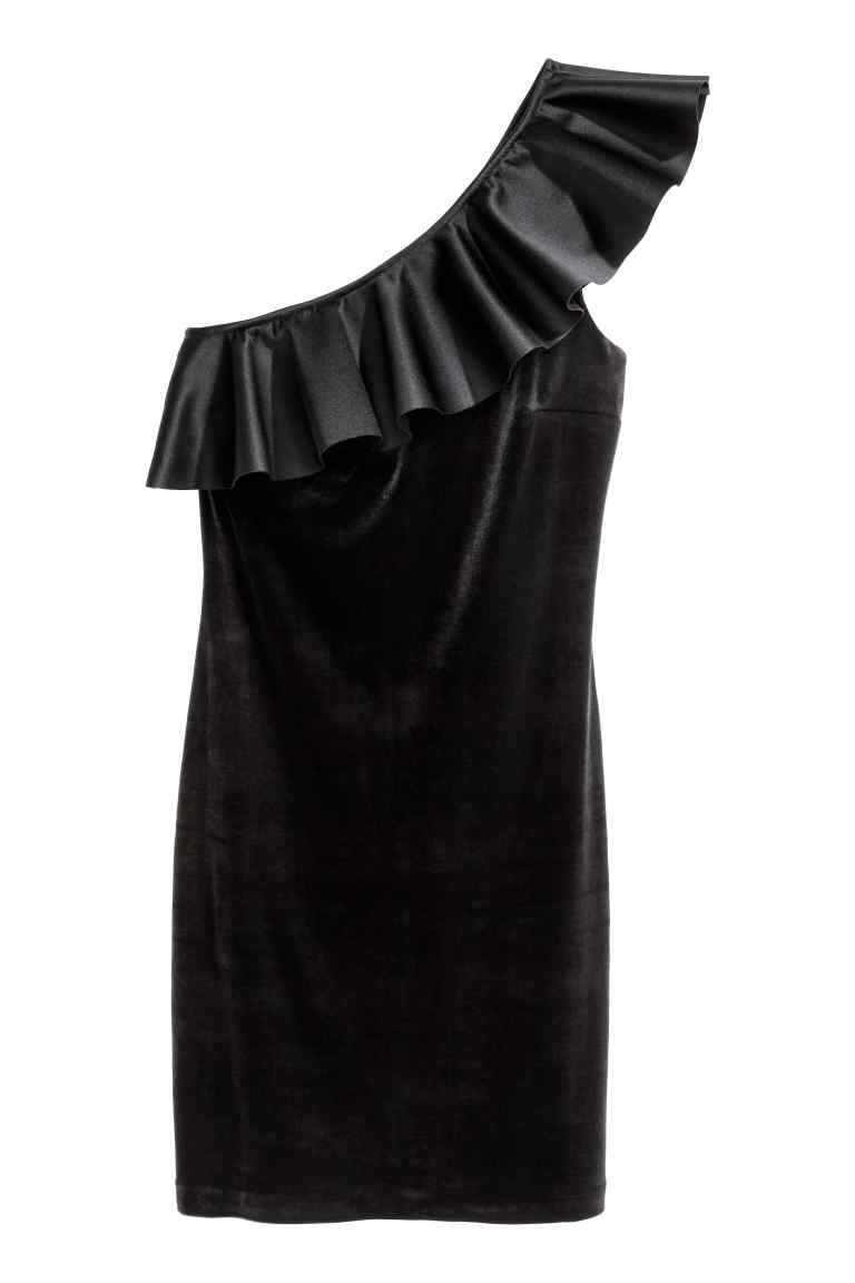 Robe à bretelle asymétrique - Noir - FEMME | H&M FR