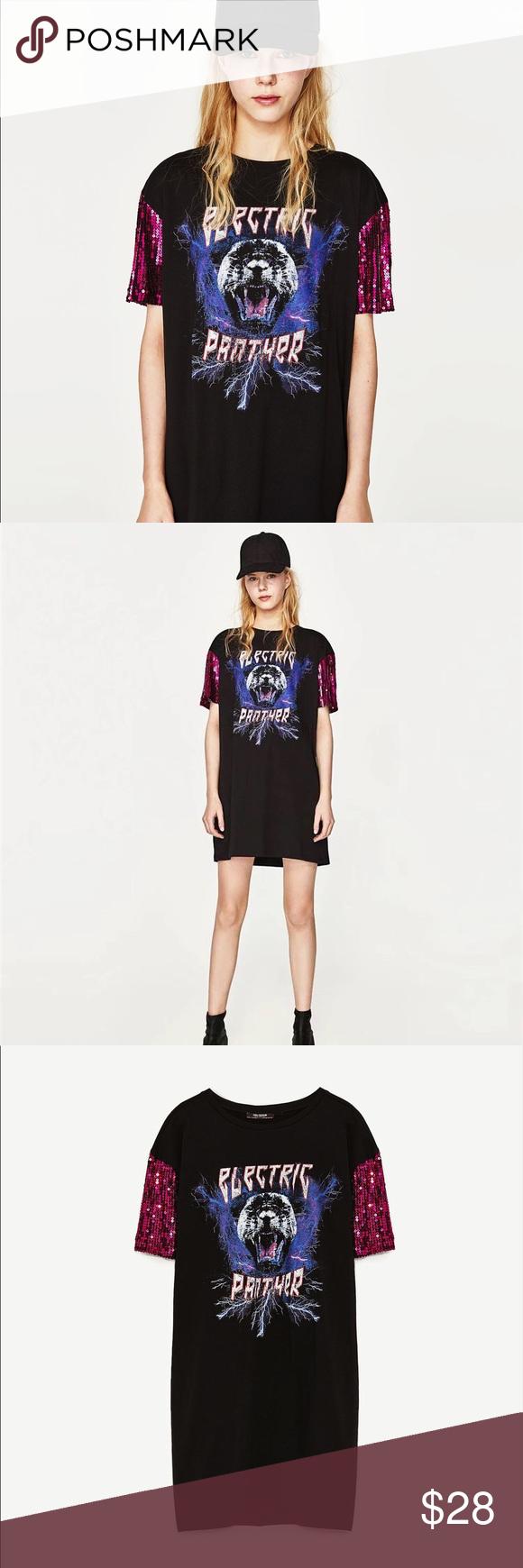 30242e1e NWT Zara Electric Panther Sequined T-Shirt Dress Sequined shoulder black t  shirt mini dress. NWOT - tags fell off but never worn Zara Dresses Mini