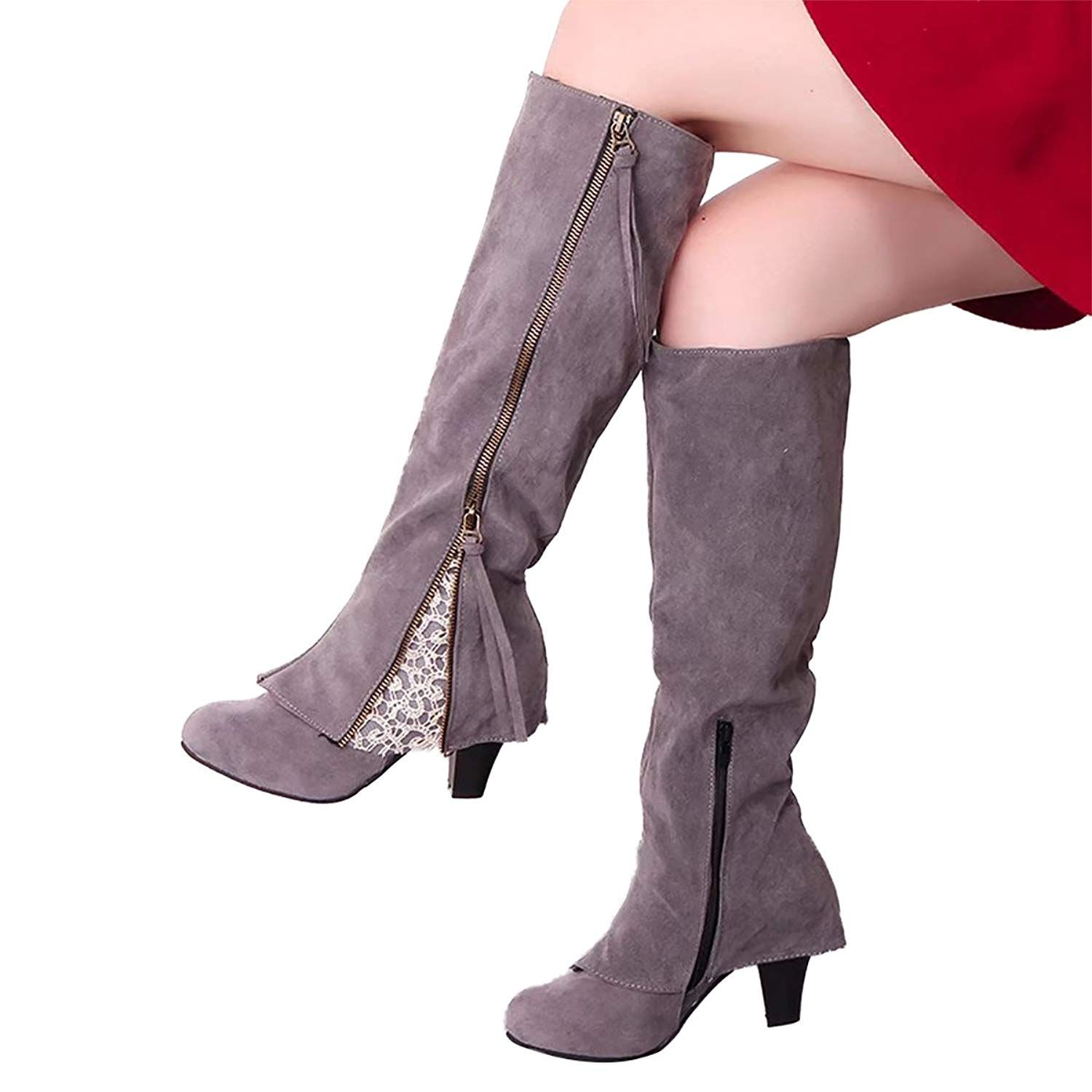 0499b2e56c0a Inornever Women s Chunky High Heel Ankle Booties Fashion Buckle ...