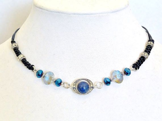 Lapis Leather choker, Heal stone necklace, Lapis lazuli jewelry, Blue stone choker, Black leather choker, prom jewelry gift, women necklace