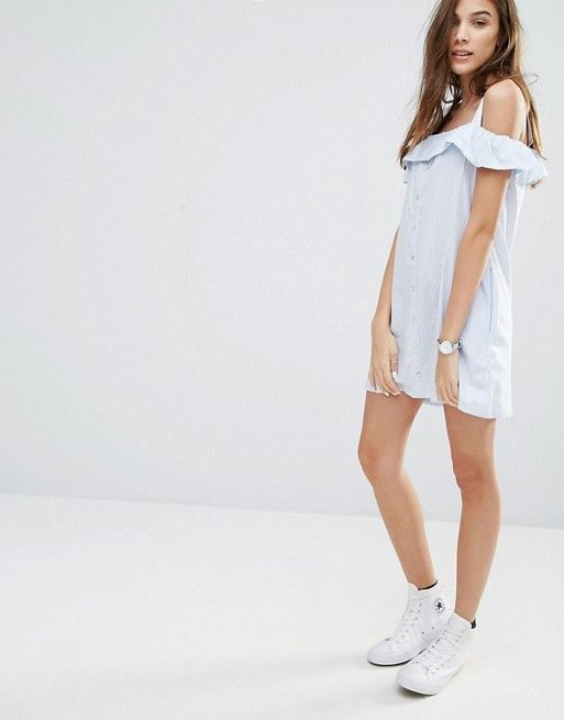 Pull&Bear   Pull&Bear Off The Shoulder Strappy Dress
