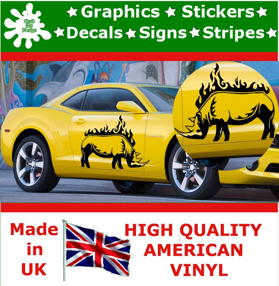 Car sticker design fire - 2 X Large Car Side Rhino Fire Flame Fire Graphic 4x4 Decal Vinyl Stickers Van 49