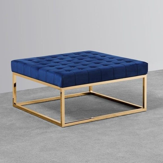 Best Master Furniture Navy Blue Gold Ottoman Coffee Table