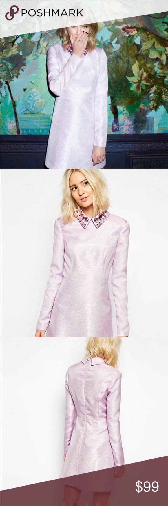 47d0fd4612726 NWT ASOS BLACK label glitter dress with gem collar NWT ASOS black label  pink glitter dress
