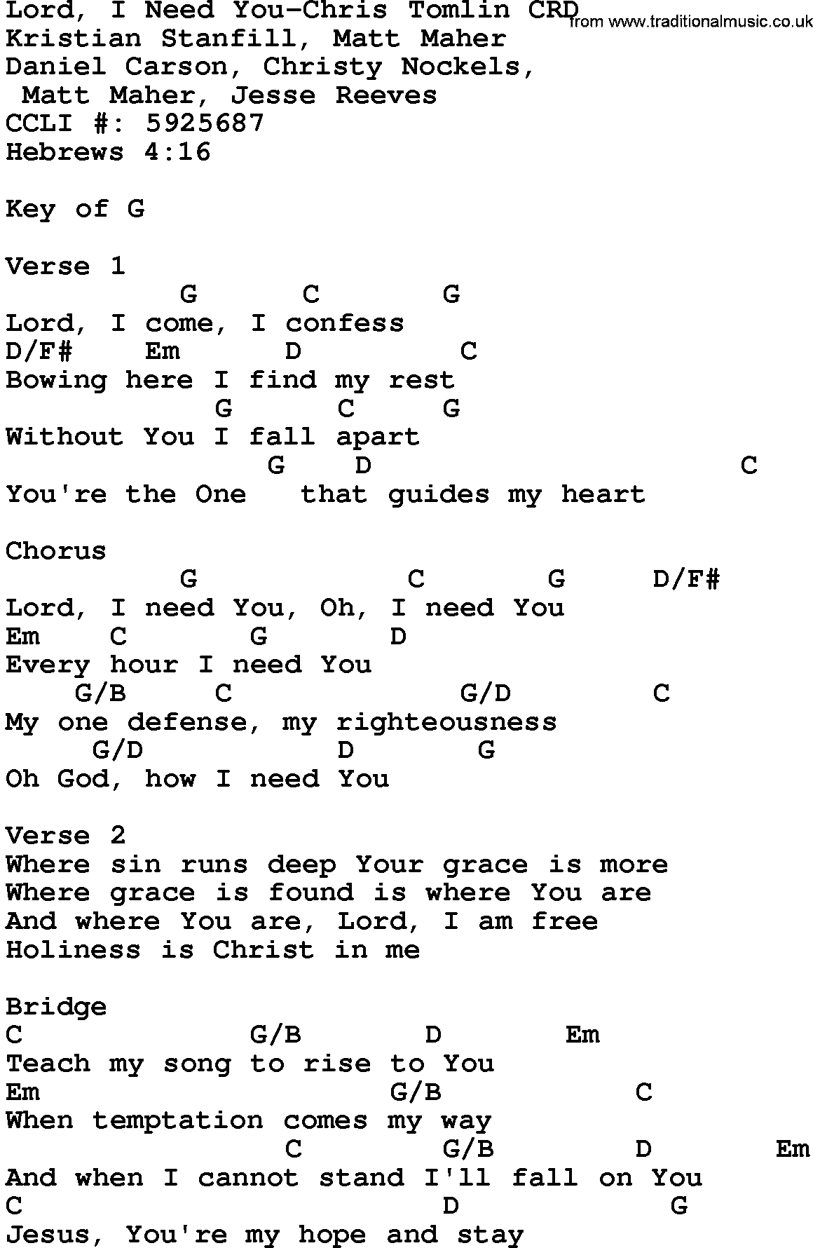 Gospel Song Lord I Need You Chris Tomlin lyrics and chords
