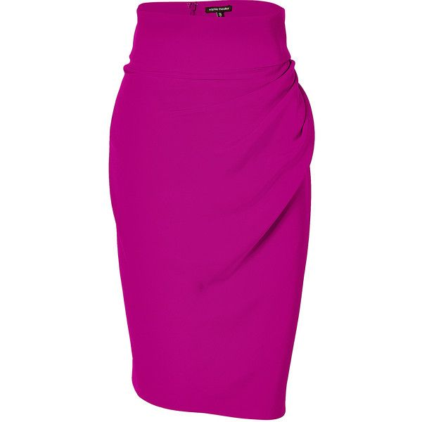 SOPHIE THEALLET Orchid 4-Ply Silk Crepe Pencil Skirt ($352) ❤ liked on Polyvore featuring skirts, pink pencil skirt, high waisted knee length skirt, summer pencil skirt, high-waisted pencil skirts and high-waist skirt