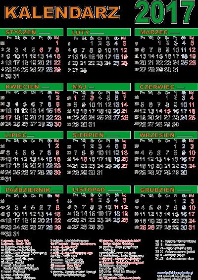 Kalendarz pionowy 2017 ze świętami i numerami tygodni