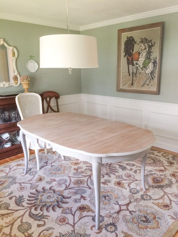 whitewash dining room table | French Provincial Dining Room Table Makeover using a Chalk ...