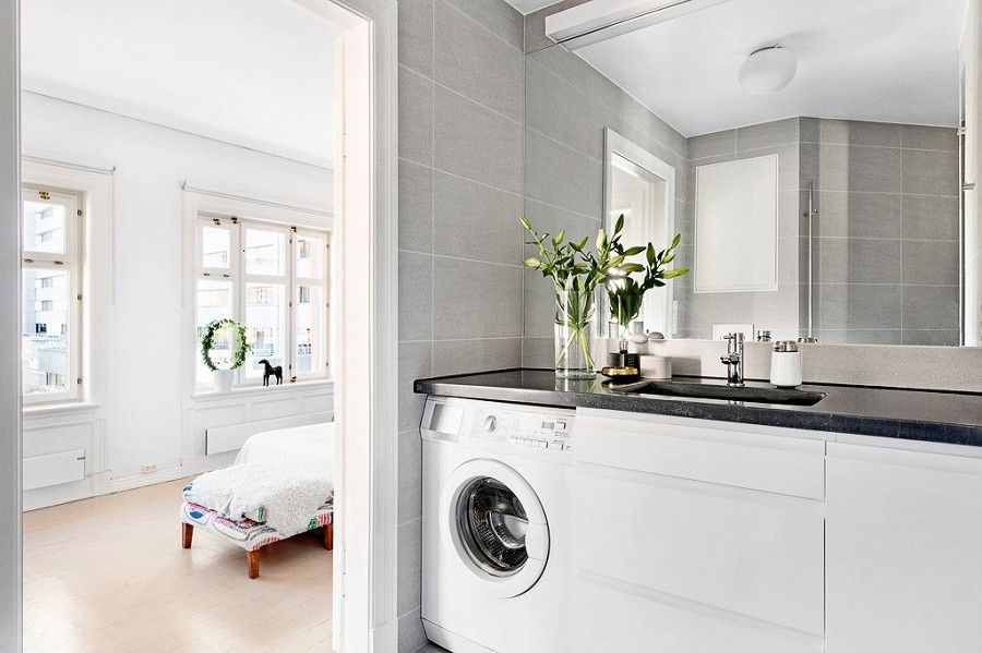 Integrated washing machine in bathroom   Laundry in ... on Small Space Small Bathroom Ideas With Washing Machine id=21305