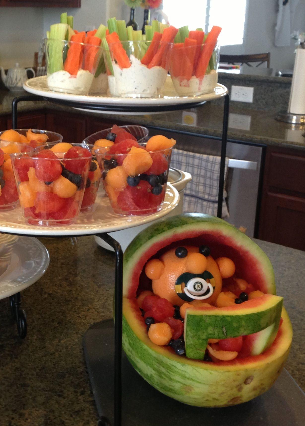 Baseball baby shower fruit salad