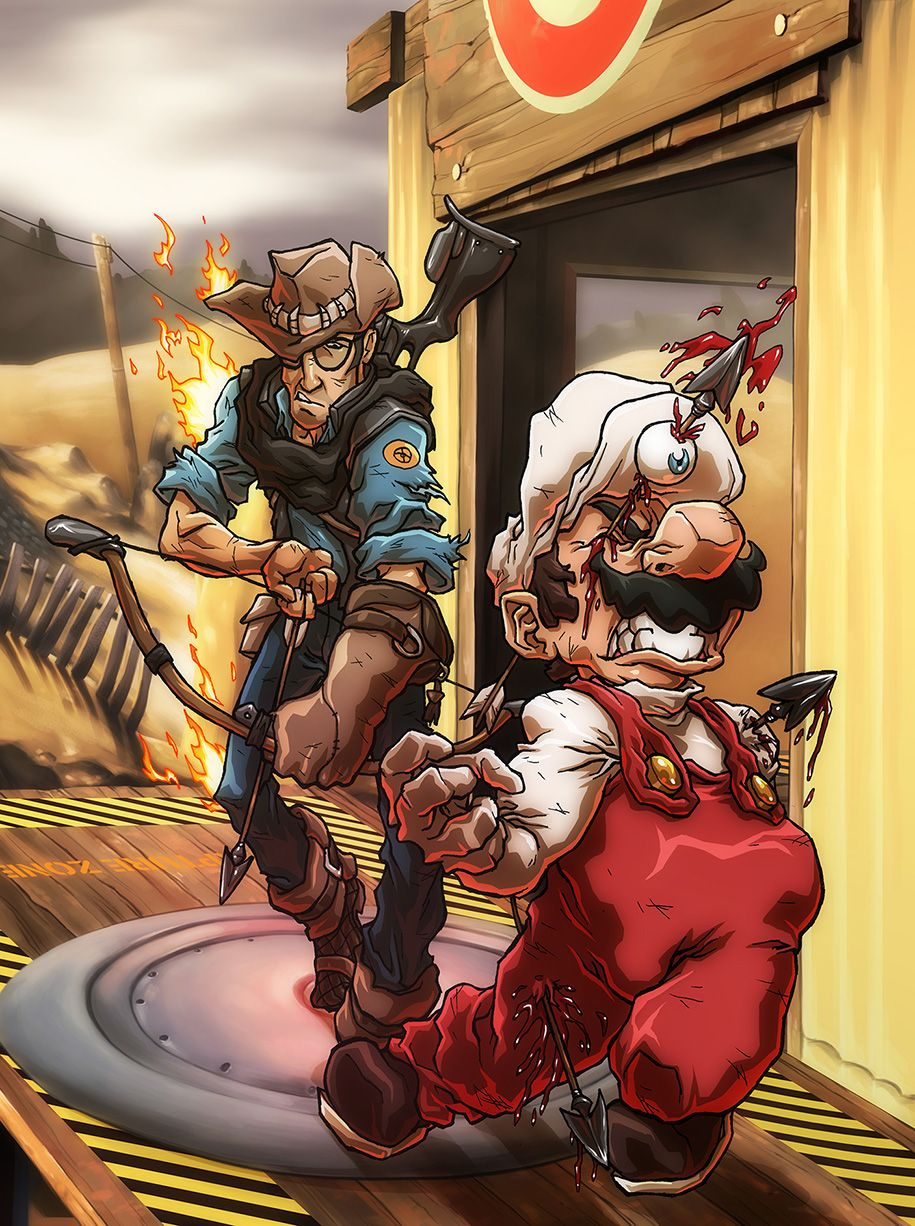Mario vs. The Sniper by SebastianvonBuchwald on DeviantArt