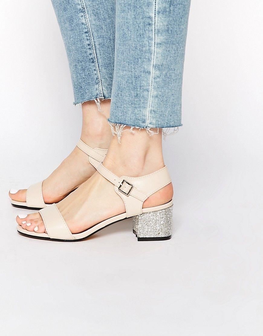 Image 1 Of New Look Zebra Embellished Mid Heel Sandals Kitten Heel Sandals Mid Heel Sandals Shoes Women Heels