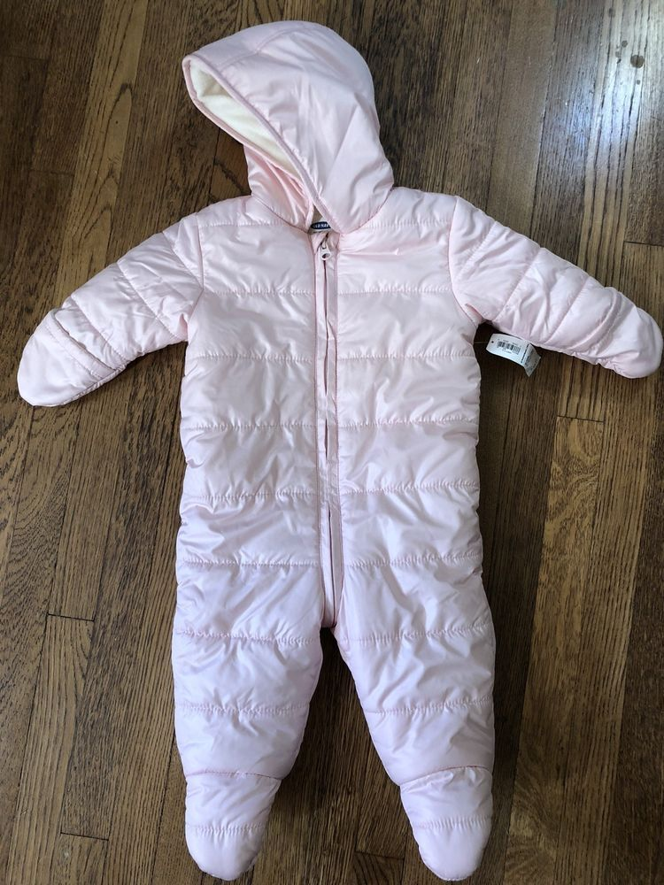 a55bbcf48 Girls Old Navy One Piece Snow Suit Hooded Size 6-12M Fleece Lined ...