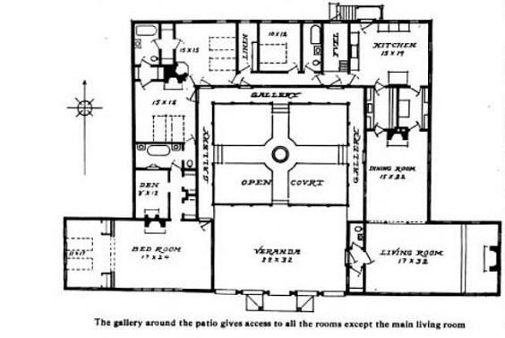 Bungalow Courtyard Home Plan Hacienda Home Style Com