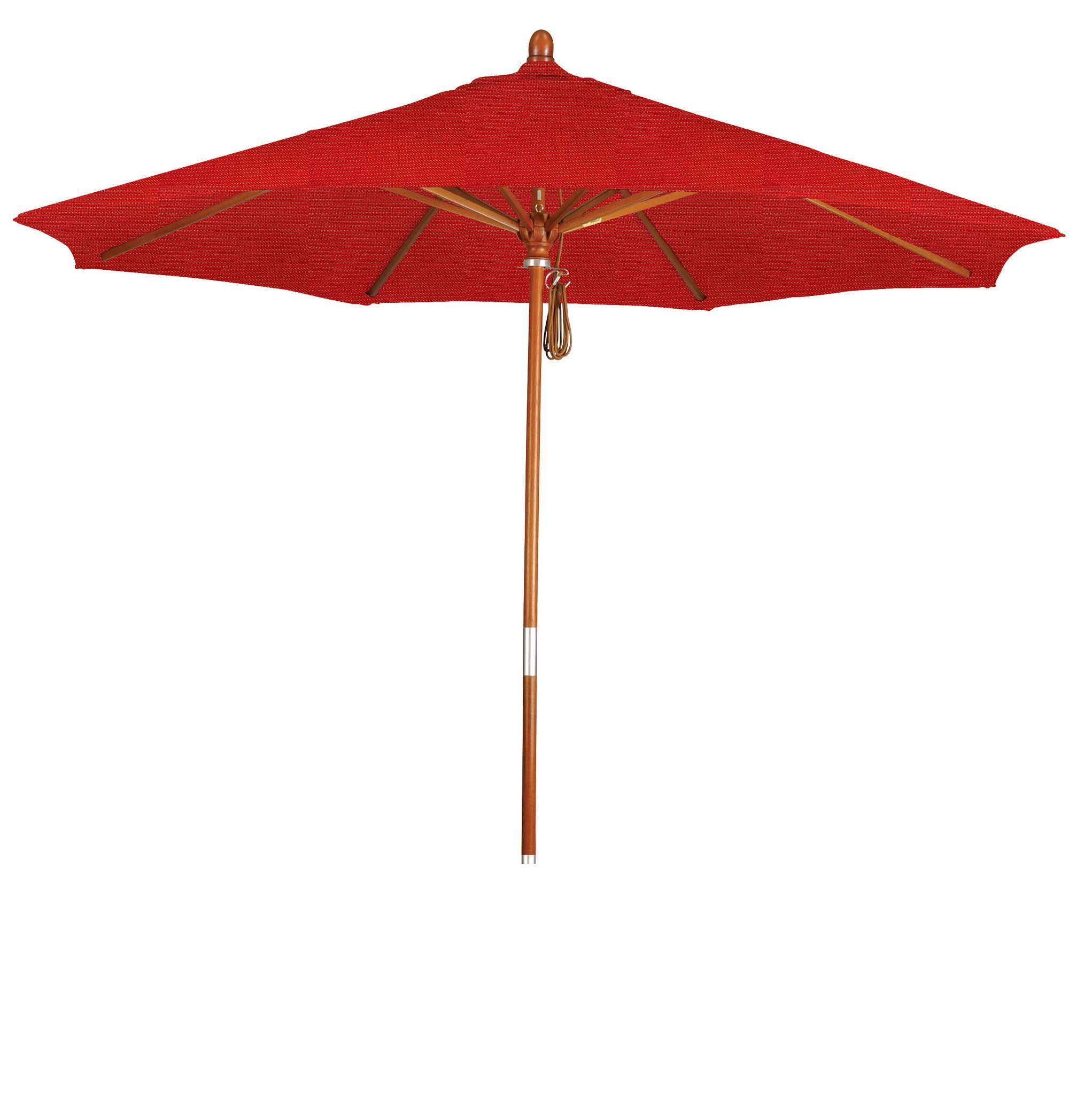 Eclipse Collection 9' Wood Market Umbrella Pulley Open Marenti Wood/Sunbrella/Elan Scarlett