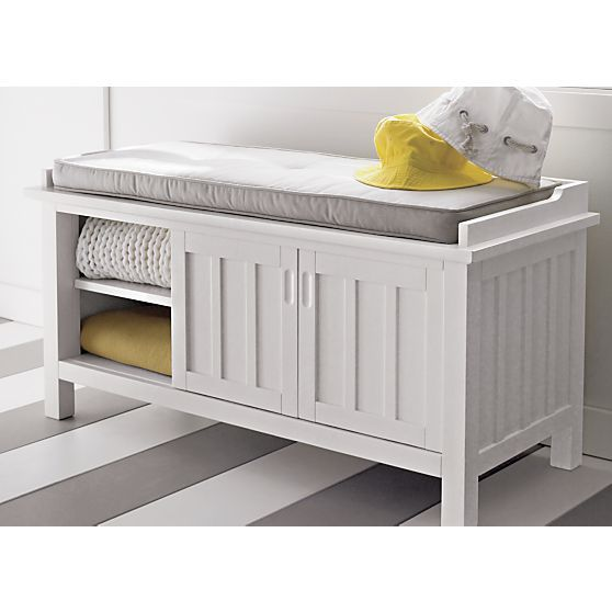Brighton White Storage Bench With Natural Cushion In Entryway