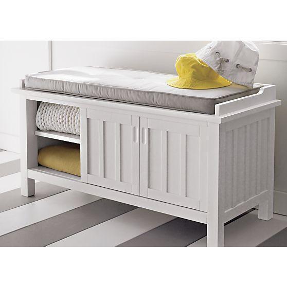 Foyer??- Brighton White Storage Bench with Natural Cushion in ...