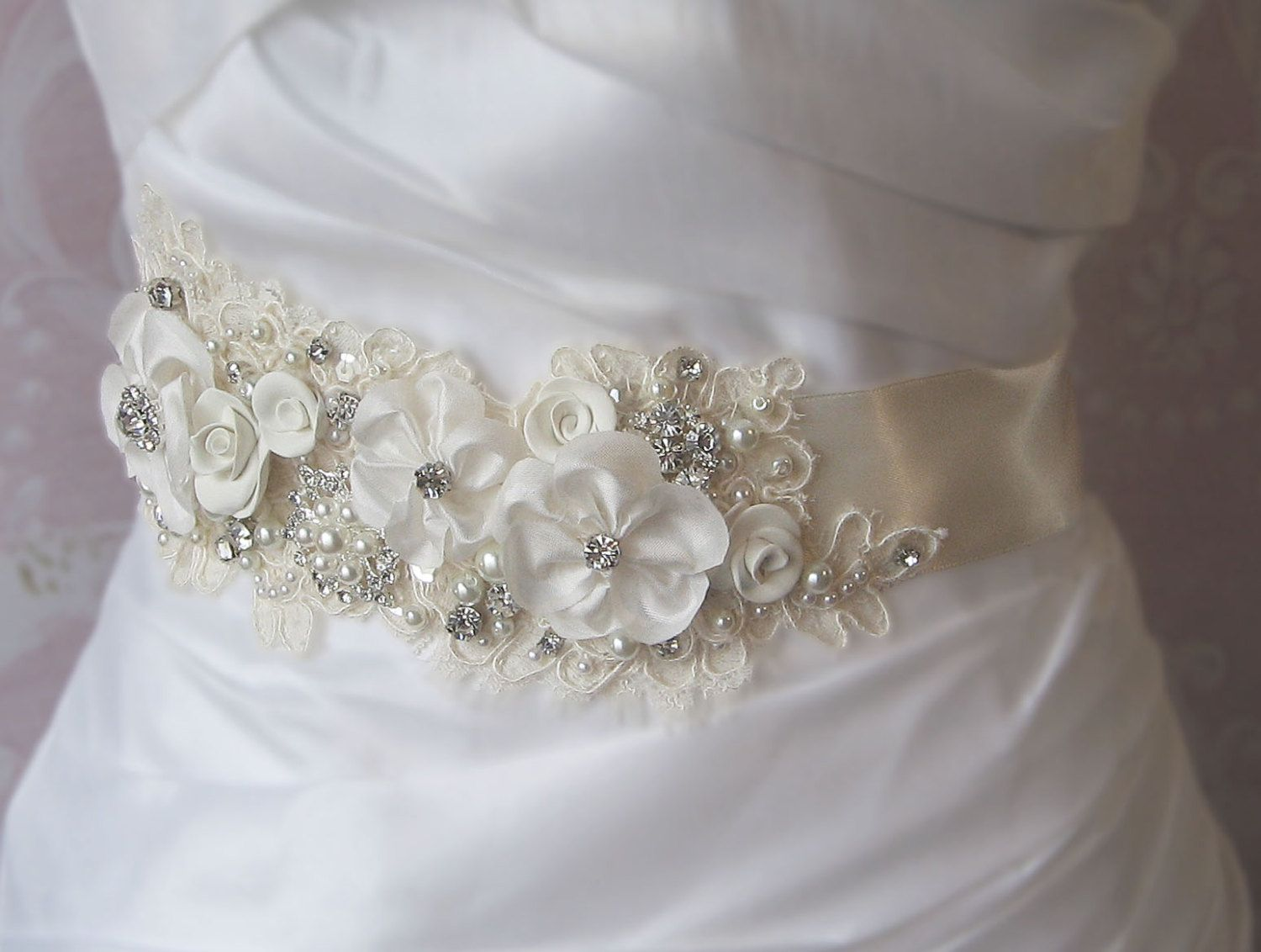Flower and Pearl Wedding Sashes