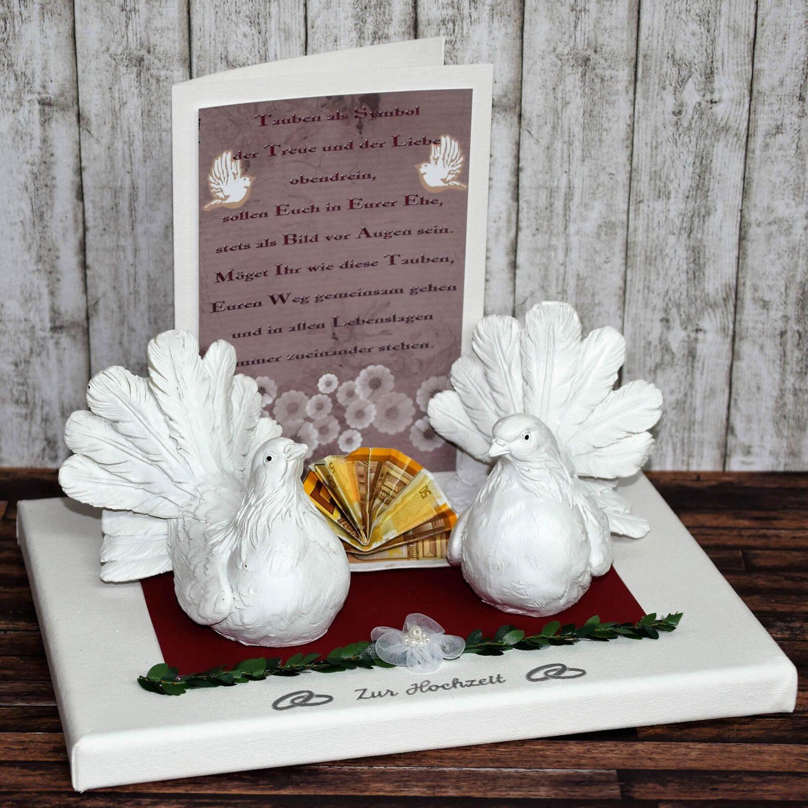 Geldgeschenk zur Hochzeit - Taubenpaar mit Karte
