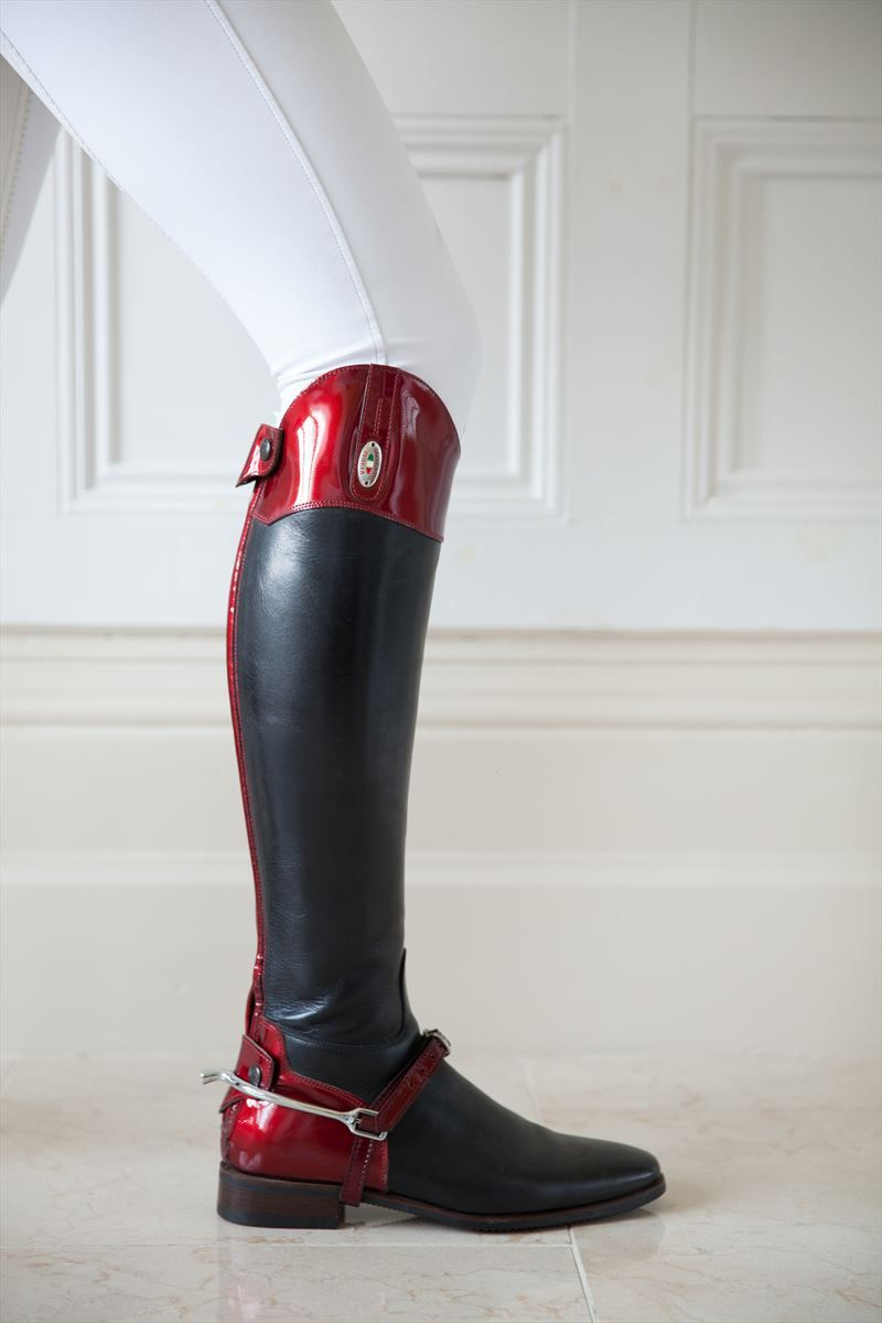 Red Saffiano Horse riding boots, Riding boots