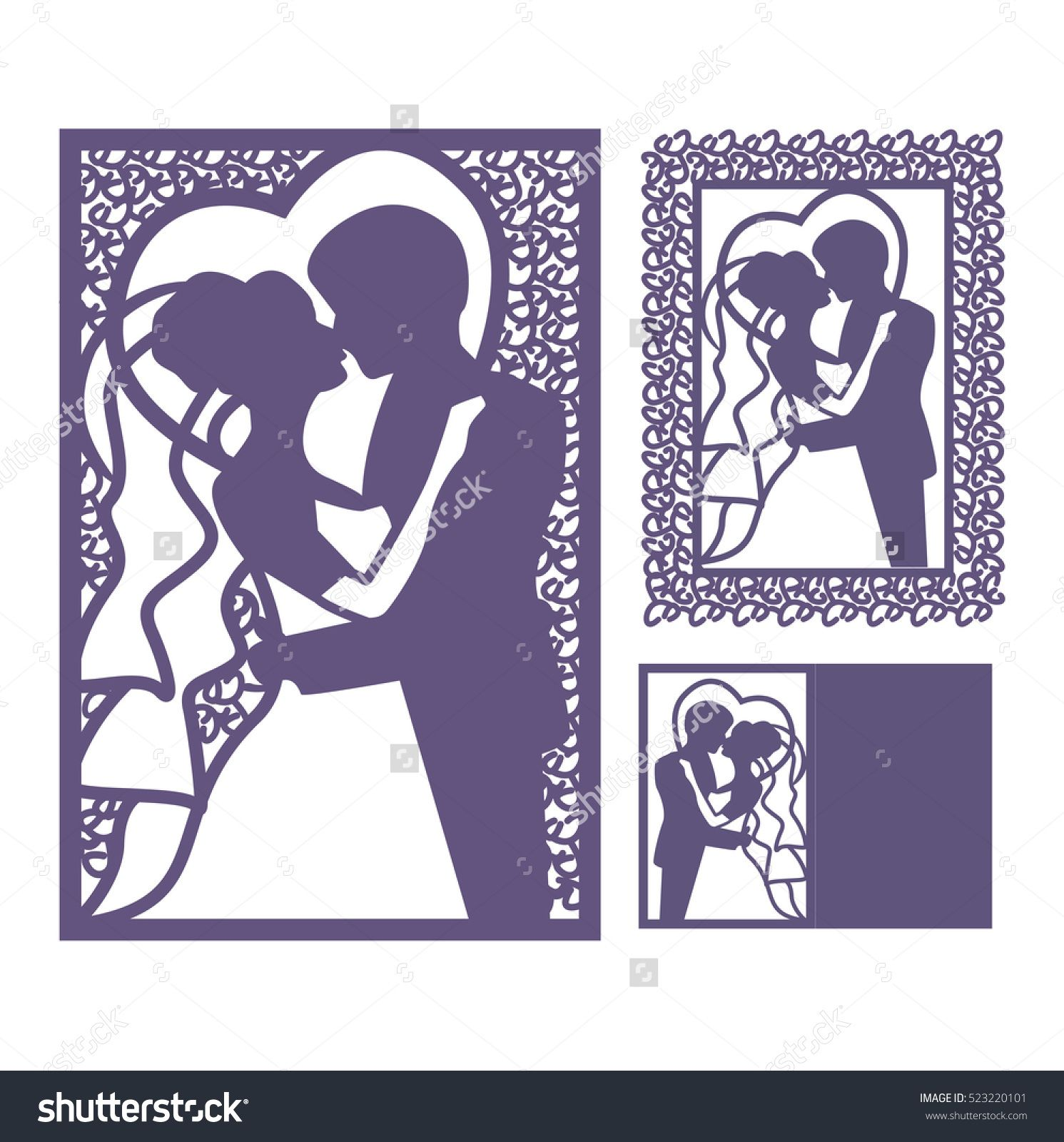 Bride and groom silhouette laser cut invitation vector postcard laser cut invitation vector postcard cutting paper floral motifs stopboris Gallery