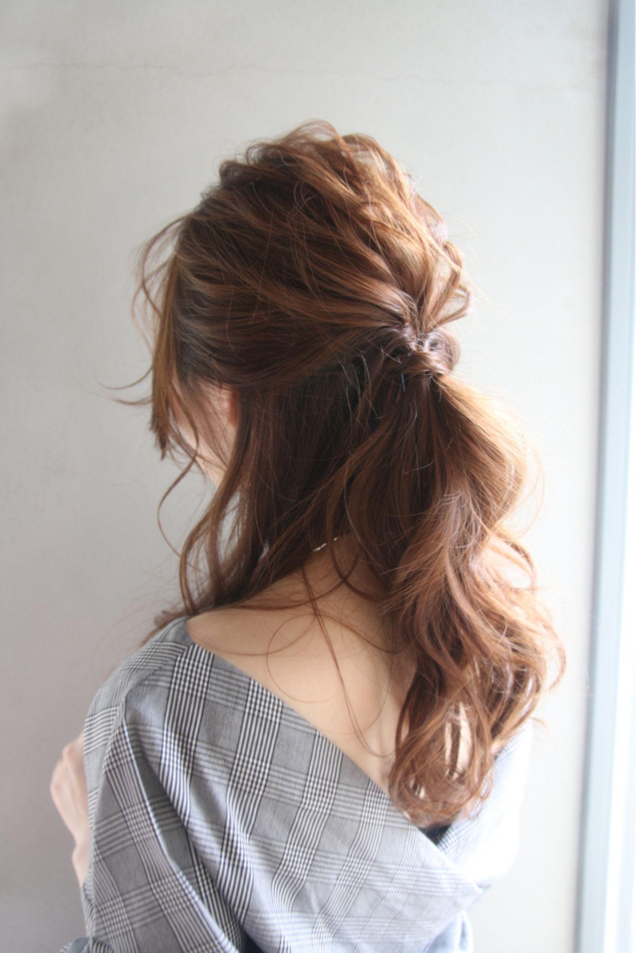 ハーフアップポニーテール ポニーテール ロング ヘアスタイリング まとめ髪 簡単 ロング